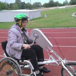 Cindy, halfway through a tough lap on the handcycle