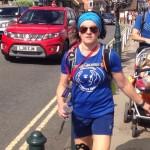 Zoe, taking on the final kilometre of her huge 100km walk